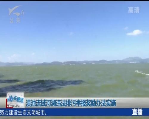 舉報滇池排污(wu) 最高獎勵10萬